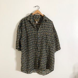 Vintage Silk Printed Casual Button Down Top - L